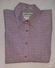 NWT Womens ORVIS Button Down Shirt Pink Blue Plaid Sz S Icy Tattersall Twill
