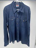 Wrangler Men's 2XL Indigo Western Blue Denim Pearl Snap Button Front Shirt