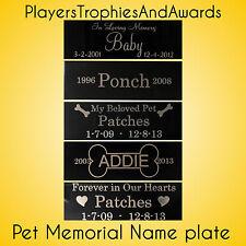 Pet memorial 1 x 3 Custom name plate aluminum metal Custom engraving 1x3 dog cat