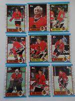 1989-90 Topps Chicago Blackhawks Team Set of 9 Hockey Cards