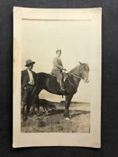 Vintage RPPC: People #B284: Woman Horse: Farmer & Dog: New Zealand 1922 1 of 2