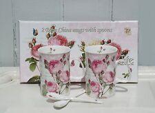 Kaffeebecher & Löffel Set Romantic Roses Bon China Porzellan Rosa Shabby  H.11cm
