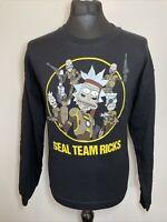 Rick and Morty Black Seal Team Ricks Men's Graphic Print Sweatshirt Medium M