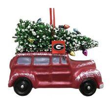"""GEORGIA BULLDOGS CAR VAN W/ CHRISTMAS TREE RESIN ORNAMENT 3.5"""""""