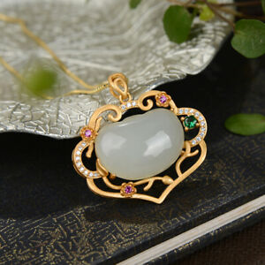 China Pure Silver S925 Gild Inlay Hetian White Jade Hollow Out Ruyi Lock Pendant
