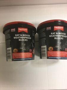 2  X 10X RENTOKIL MOUSE & RAT KILLER BIG 20G WEATHERPROOF NEW IMPROVED FORMULA