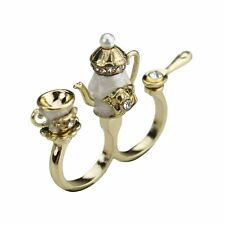 R29 Betsey Johnson Exquisite Tea Party Tea Pot, Cup, Spoon - Dual Finger Ring AU