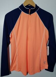1 NWT JOFIT WOMEN'S PULLOVER, SIZE: SMALL, COLOR: CORAL/NAVY (J194)