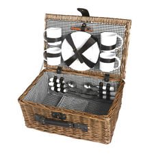 4 Person Picnic Basket Baskets Set Outdoor Blanket Deluxe Willow Gift Storage
