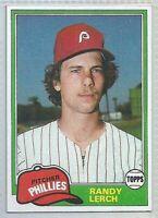 1981 TOPPS RANDY LERCH PHILADELPHIA PHILLIES #584 BASEBALL CARD