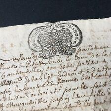 Acte Notarié 1685 Marque Généralité De Poitiers