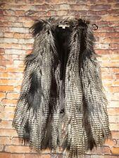 FEVER Black & White Faux Fur Vest Size Women's Size MEDIUM M
