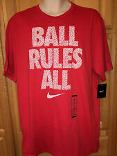 """NWT Mens NIKE Short Sleeve T-Shirt, """"BALL RULES ALL"""" Size XL, Red #811274 $25"""