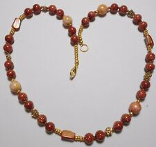 "19.5"" necklace, Goldstone, shell, glass beads mix"