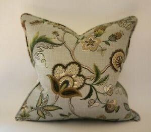 "18"" Gray Blue Tan Floral Lee Jofa Designer Throw Pillow Cover High End"