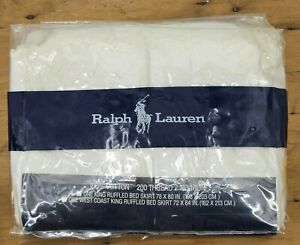 Vtg 80s New Ralph Lauren Patience White West Coast King Ruffled Bed Skirt Eyelet