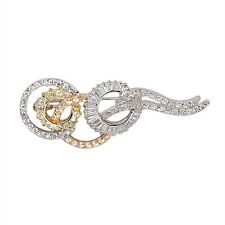 Yellow Gold Tone Rose Tone Sterling Silver White CZ Circles Pin Brooch