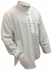 Ice WHITE Plain Collarless Grandad shirt,comfort loose fit hippy boho casual top