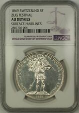 1869 Zug Switzerland 5 Francs Silver Coin Swiss Shooting Thaler NGC AU Details