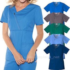 MEDICAL SCRUBS Tops Skechers Women's Zip Mock Wrap Top Short Sleeve shirt 25806