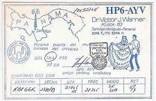 QSL Ham Radio Card HP6-AYV Santiago Panama Illustrated Map DX Association