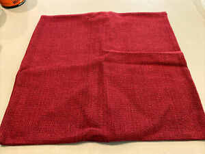 """West Elm Hand Loom Silk Pillow Cover 20"""" X20"""" City Red Solid Weave Square SAMPLE"""