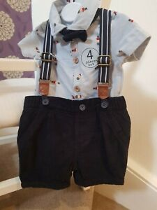 Baby Boy *New Next Blue 4 Piece Outfit, inc, Top, Cord Shorts, Braces & Bow Tie