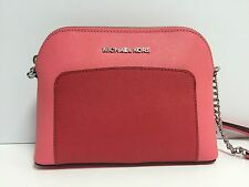 Michael Kors Cindy Pocket Large Dome Leather Crossbody (Coral/Watermelon)