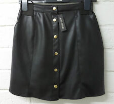 Womens Ladies New Black PVC Leather Look Short Gold Button A Line Skirt 6-18
