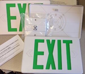 Hubbell Green EXIT Sign Emergency Light LED White Housng singl/dbl face CSXWGEB3