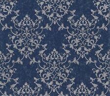 Smita Tapete Odea 46504 Ornamento Barroco Azul Oscuro Plata Vinilo