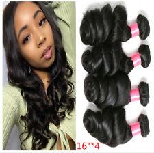 "Loose wave human hair bundles natural color 4pcs/16"" Peruvian Extensions weft"