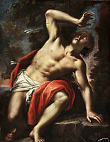 Oil painting portrait naked man Injured Saint Sebastian in landscape canvas 36""