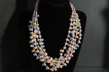 Art Glass Irredescent Bubble Gum Drops Multi Strand Necklace Peach Blue Beads