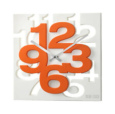 Horloge Murale 3 D Conception 32,5 cm Moderne 1106 Blanc Orange