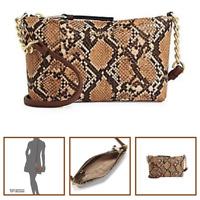 Calvin Klein Women's Hayden Python Crossbody Bag Chain Purse Handbags Beige NEW