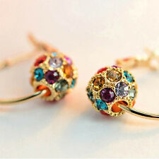 Exquisite Women Girls Crystal Rhinestone Ear Studs Hoop Earrings Jewelry Gift