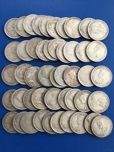 50 x 1910- 1945 Australia Florins 925 Sterling Silver Coins Only $14.5 each