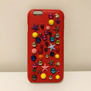 DOLCE GABBANA IPHONE 6 CASE RED LEATHER MULTICOLOUR STUDDED NEW BOXED RRP £300