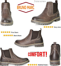 Men's Brown Leather Lined Chelsea Dress Ankle Boots,Flexible 15 DM,By Bruno Marc