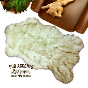 Brown/Black Tip Faux Fur Polar Bear, Arctic Wolf, Rug, Accent, toss, Throw USA