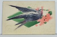 Heartiest Congratulations Heavy Embossed Bird with Flowers Postcard N12