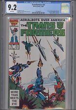 Transformers #21 CGC 9.2  Marvel Movie Based Comic: 1986: New Frame