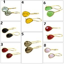 Pear Shape Colorful Topaz Onyx Coral Quartz Gold Plated Hook Girls Gift Earring