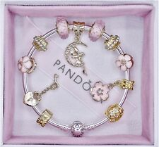 Authentic Pandora Bracelet Silver Bangle with Angel Gold Love European Charms