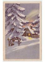 1941 Tarjeta Postal Paisaje Invierno Nieve Jardín Casa Campo Abeto Navidad