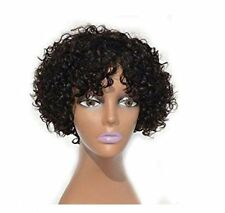 Women Natural Black Curly Wave Human Hair Wigs Cute Wavy Short Bob Pixie Wigs