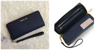 Michael Kors Jet Set Travel Leather Continental Wallet Wristlet Navy Blue New Md