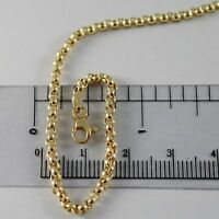 18K YELLOW GOLD CHAIN 17.70 IN, DOME ROUND CIRCLE ROLO LINK 2.5 MM MADE IN ITALY