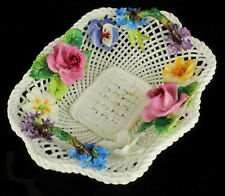 ANTIQUE DECO CROWN STAFFORDSHIRE WOVEN BASKET FLOWERS PANSY DAISY FANCY C 1930s